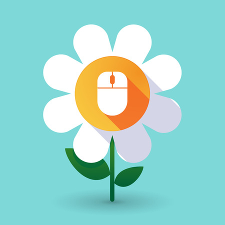 Illustration of a long shadow daisy flower with a wireless mouse Illustration