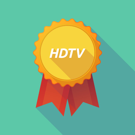 hdtv: Illustration of a long shadow badge with    the text HDTV Illustration