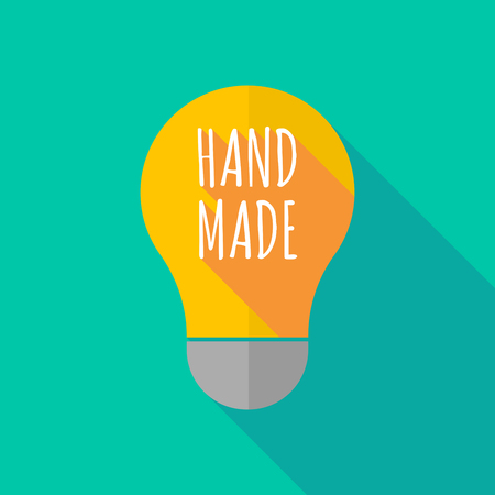ight: Illustration of a long shadow ight bulb icon with    the text HAND MADE