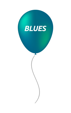blues: Illustration of an isolated balloon with    the text BLUES Illustration