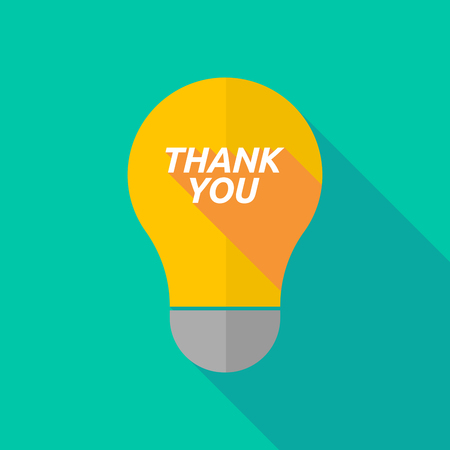 ight: Illustration of a long shadow ight bulb icon with    the text THANK YOU Illustration