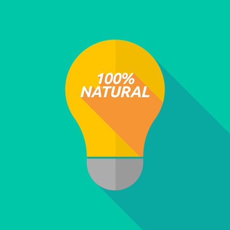 ight: Illustration of a long shadow ight bulb icon with    the text 100% NATURAL Illustration