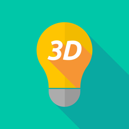 text 3d: Illustration of a long shadow ight bulb icon with    the text 3D