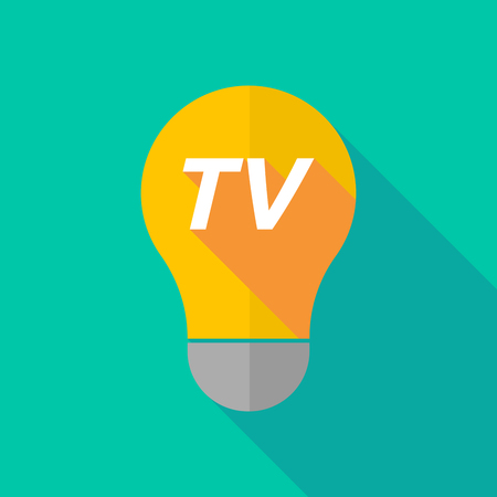 Illustration of a long shadow ight bulb icon with    the text TV Illustration