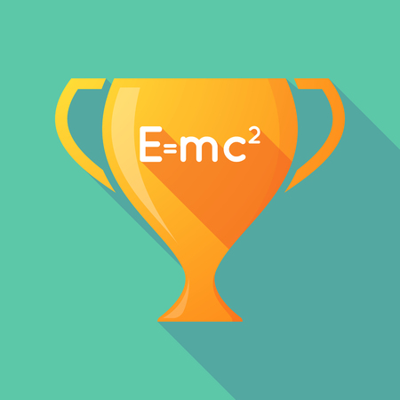 relativity: Illustration of a long shadow gold award cup with the Theory of Relativity formula