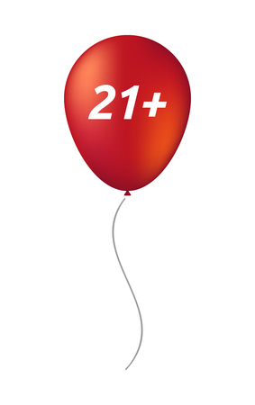 adult birthday party: Illustration of an isolated balloon with    the text 21+ Illustration