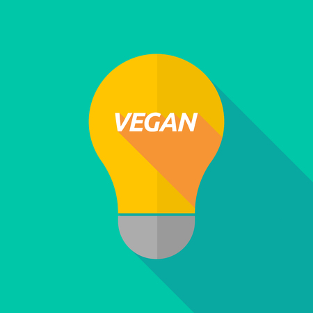 ight: Illustration of a long shadow ight bulb icon with    the text VEGAN