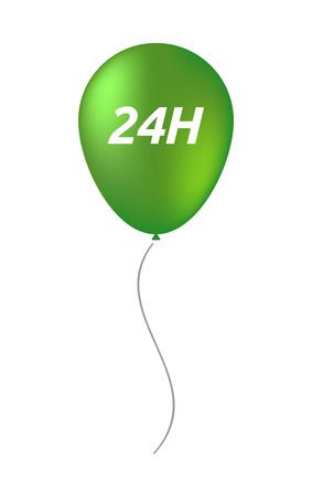 24h: Illustration of an isolated balloon with    the text 24H