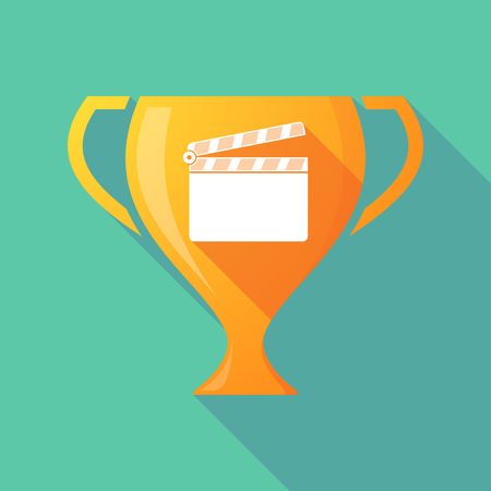 Illustration of a long shadow gold award cup with a clapperboard