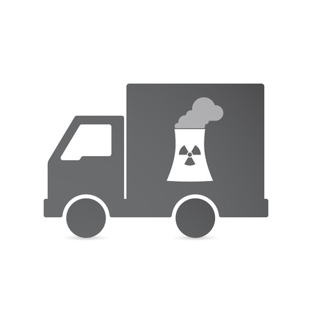 power delivery: Illustration of an isolated delivery truck with a nuclear power station Illustration
