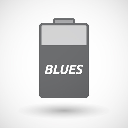 blues: Illustration of an isolated battery icon with    the text BLUES Illustration
