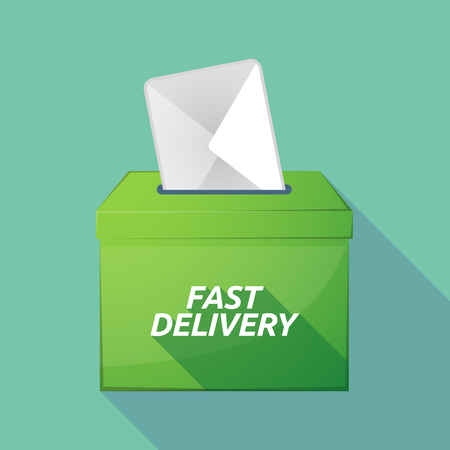 Illustration of a long shadow vector ballot box icon with  the text FAST DELIVERY