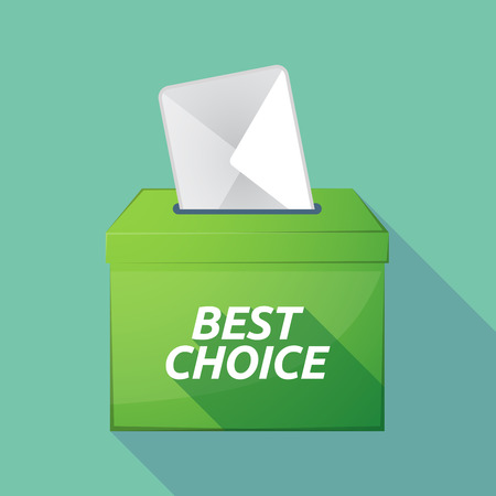 Illustration of a long shadow vector ballot box icon with    the text BEST CHOICE Illustration