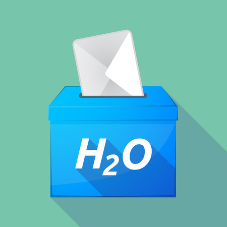 h2o: Illustration of a long shadow vector ballot box icon with    the text H2O