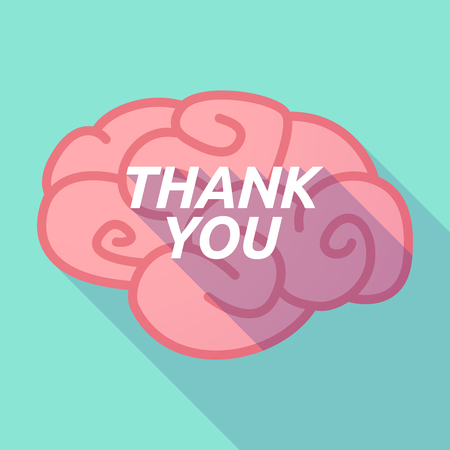 Illustration of a long shadow pink brain vector icon with    the text THANK YOU