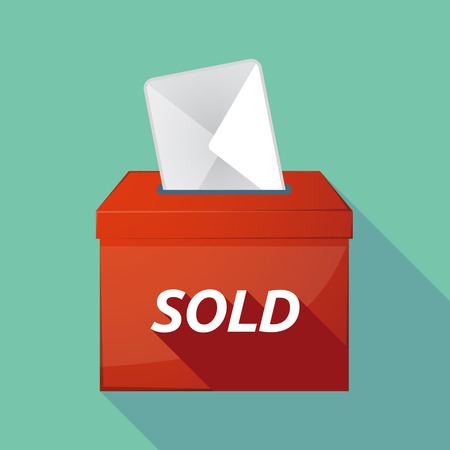 stock market quote: Illustration of a long shadow vector ballot box icon with    the text SOLD