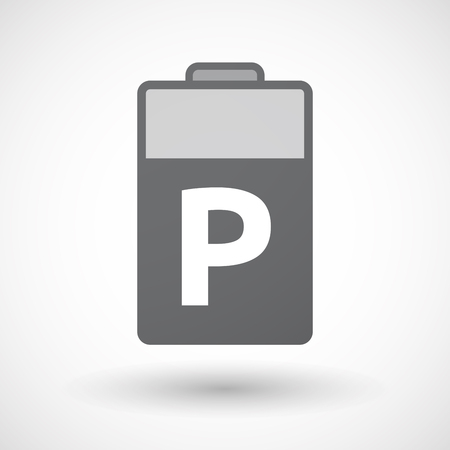 valet: Illustration of an isolated battery icon with    the letter P