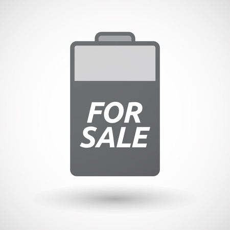energy market: Illustration of an isolated battery icon with    the text FOR SALE