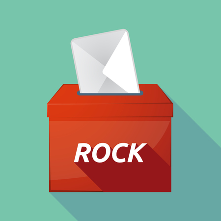 elect: Illustration of a long shadow vector ballot box icon with    the text ROCK