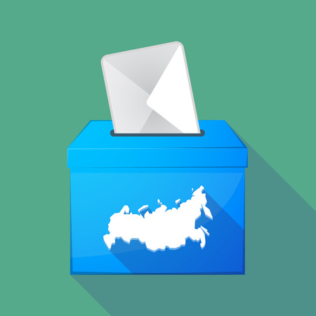 elect: Illustration of a long shadow ballot box with  a map of Russia Illustration