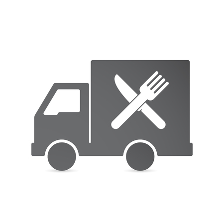Illustration of an isolated delivery truck with a knife and a fork