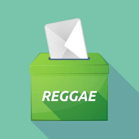 Illustration of a long shadow vector ballot box icon with    the text REGGAE Illustration