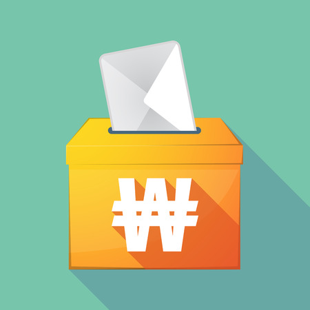 elect: Illustration of a long shadow ballot box with a won currency sign Illustration