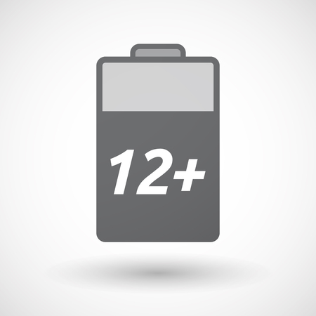 12: Illustration of an isolated battery icon with    the text 12+