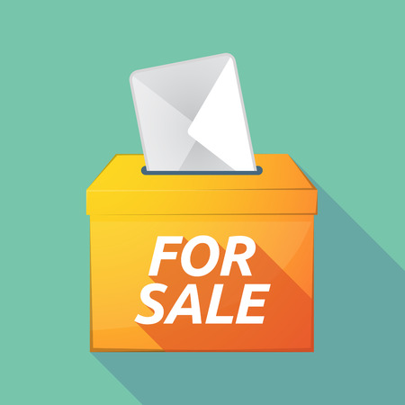 Illustration of a long shadow vector ballot box icon with    the text FOR SALE