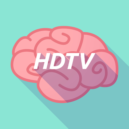 hdtv: Illustration of a long shadow pink brain vector icon with    the text HDTV