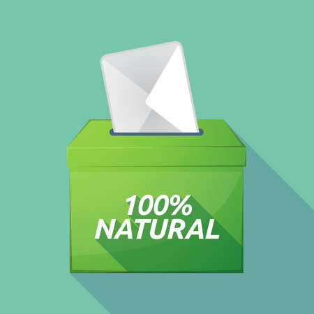Illustration of a long shadow vector ballot box icon with    the text 100% NATURAL Illustration