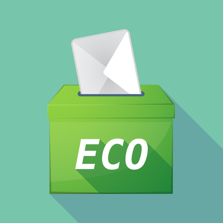 elect: Illustration of a long shadow vector ballot box icon with    the text ECO