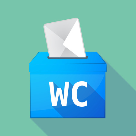wc: Illustration of a long shadow vector ballot box icon with    the text WC Illustration