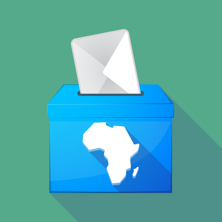 Illustration of a long shadow ballot box with a map of the african continent