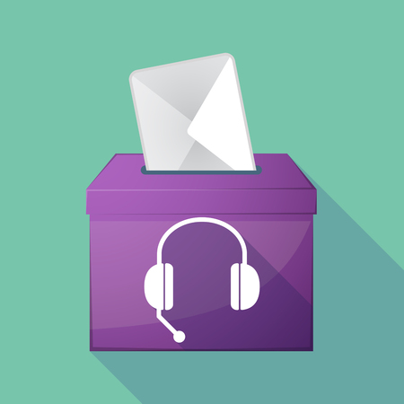 elect: Illustration of a long shadow ballot box with  a hands free phone device Illustration