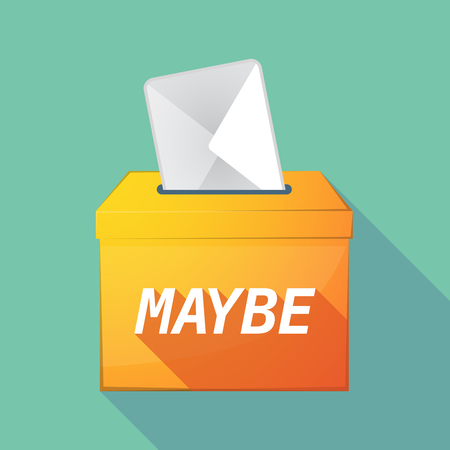 maybe: Illustration of a long shadow vector ballot box icon with    the text MAYBE