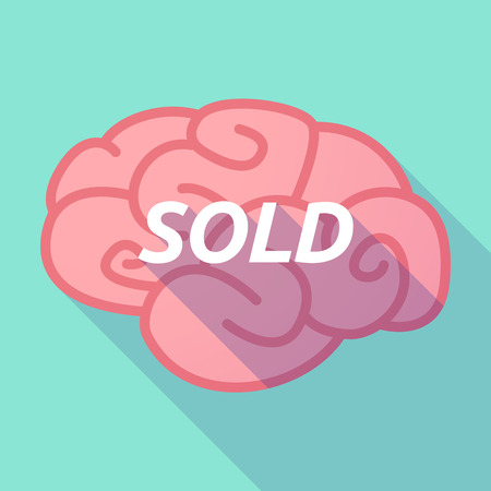 Illustration of a long shadow pink brain vector icon with    the text SOLD