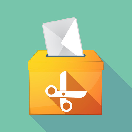 Illustration of a long shadow ballot box with a scissors Illustration