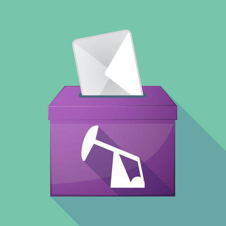 elect: Illustration of a long shadow ballot box with a horsehead pump Illustration