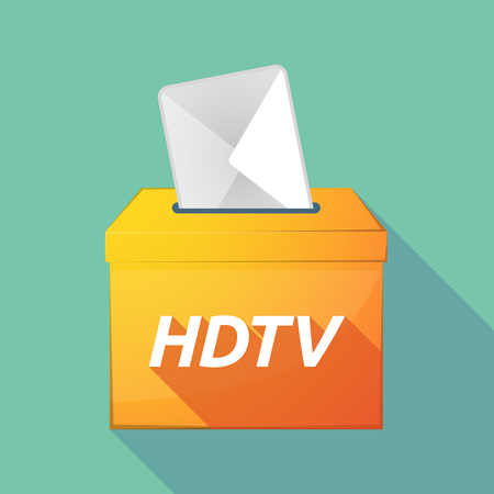 hdtv: Illustration of a long shadow vector ballot box icon with    the text HDTV