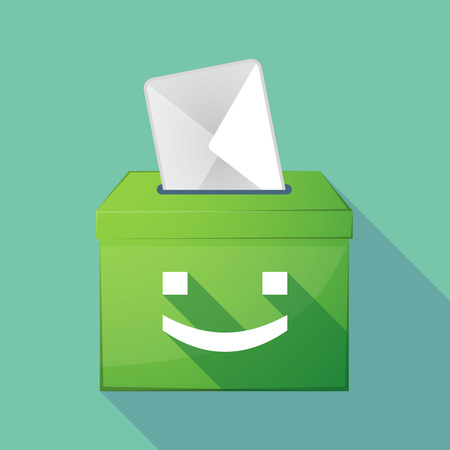 Illustration of a long shadow ballot box with a smile text face Illustration