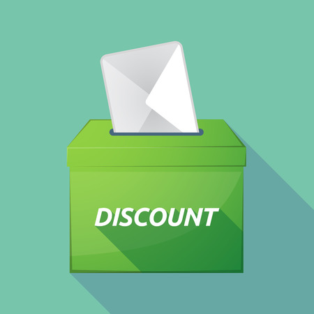 Illustration of a long shadow vector ballot box icon with    the text DISCOUNT