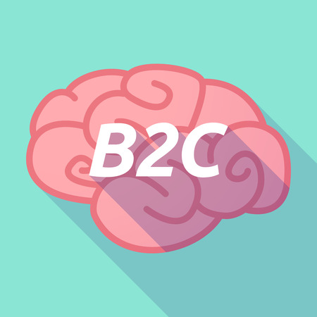 b2c: Illustration of a long shadow pink brain vector icon with    the text B2C Illustration