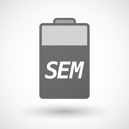 sem: Illustration of an isolated battery icon with    the text SEM Illustration