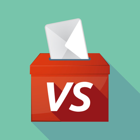 Illustration of a long shadow vector ballot box icon with    the text VS Illustration