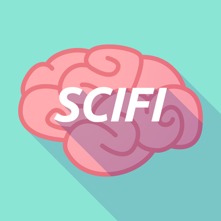Illustration of a long shadow pink brain vector icon with    the text SCIFI