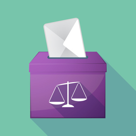 jury box: Illustration of a long shadow ballot box with  an unbalanced weight scale