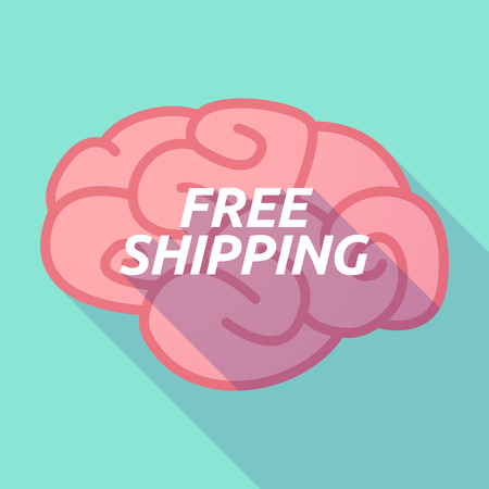 free the brain: Illustration of a long shadow pink brain vector icon with    the text FREE SHIPPING Illustration