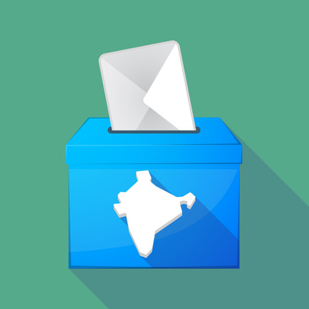 elect: Illustration of a long shadow ballot box with  a map of India Illustration