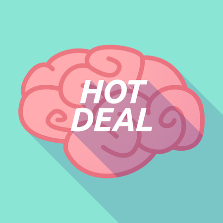 Illustration of a long shadow pink brain vector icon with    the text HOT DEAL Illustration